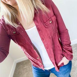 HARPER Rust Color Button Down Shirt - XXS